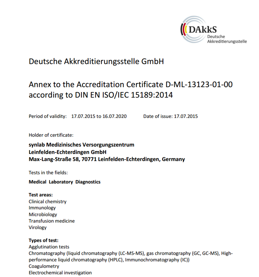 Accreditation certificate and list of accredited parameters at Synlab - Leinfelden